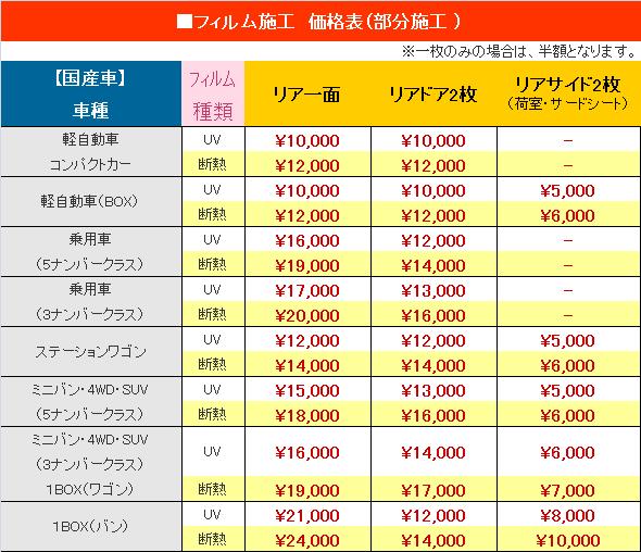 ■フィルム施工 価格表(部分施工 ) ※一枚のみの場合は、半額となります。 【国産車】フィルムリア一面リアドア2枚リアサイド2枚 車種種類(荷室・サードシート) 軽自動車UV¥10,500(税込)¥10,500(税込)- コンパクトカー断熱¥12,600(税込)¥12,600(税込)- 軽自動車(BOX)UV¥10,500(税込)¥10,500(税込)¥5,250(税込) 断熱¥12,600(税込)¥12,600(税込)¥6,300(税込) 乗用車UV¥16,800(税込)¥12,600(税込)- (5ナンバークラス)断熱¥19,950(税込)¥14,700(税込)- 乗用車UV¥17,850(税込)¥13,650(税込)- (3ナンバークラス)断熱¥21,000(税込)¥16,800(税込)- ステーションワゴンUV¥12,600(税込)¥12,600(税込)¥5,250(税込) 断熱¥14,700(税込)¥14,700(税込)¥6,300(税込) ミニバン・4WD・SUVUV¥15,750(税込)¥13,650(税込)¥5,250(税込) (5ナンバークラス)断熱¥18,900(税込)¥16,800(税込)¥6,300(税込) ミニバン・4WD・SUVUV¥16,800(税込)¥14,700(税込)¥6,300(税込) (3ナンバークラス) 1BOX(ワゴン)断熱¥19,950(税込)¥17,850(税込)¥7,350(税込) 1BOX(バン)UV¥22,050(税込)¥12,600(税込)¥8,400(税込) 断熱¥25,200(税込)¥14,700(税込)¥10,500(税込)